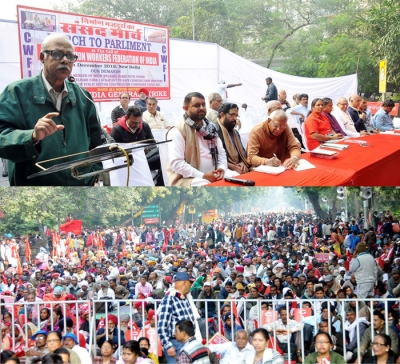 Tapan Sen, General Secretary, CITU addressing around Fifteen Thousand Strong demonstration in Parliament Street, New Delhi on 5th December, 2019