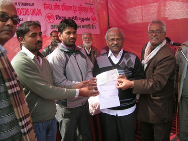 Rs.5 Lakhs handed over to Maruti Workers Union